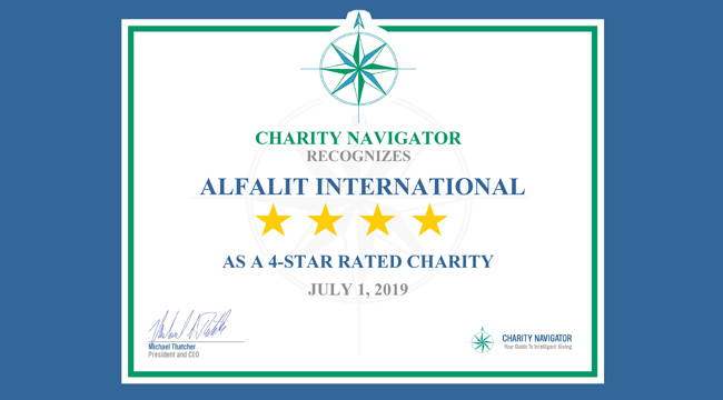 Alfalit earns coveted 4-Star rating from Charity Navigator